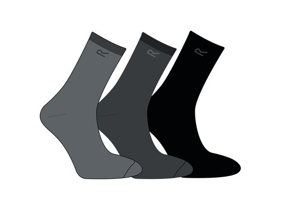 Regatta Mens 3 Socks Set Grey Marl  product image