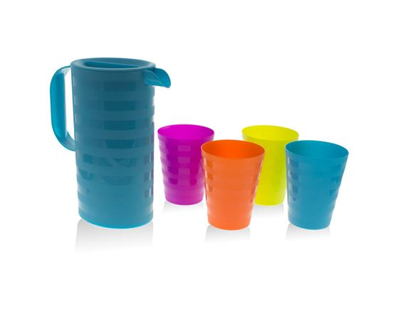 PRIMA 5pc Blue Jug & Multicoloured Cups Picnic Set product image