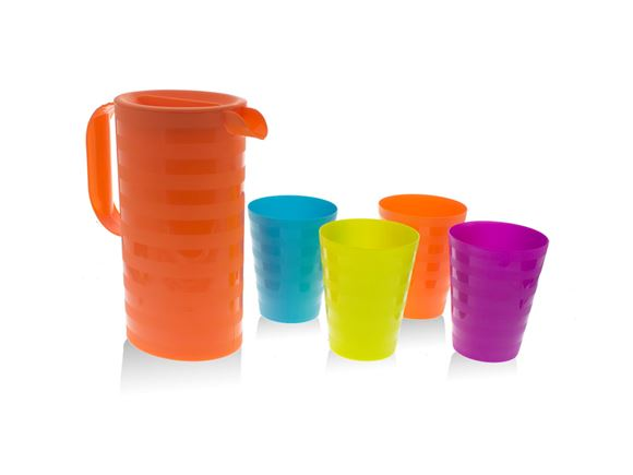 5pc Orange Jug & Multicoloured Cups Picnic Set product image