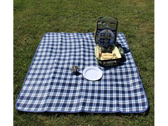Waterproof Picnic Blanket 130x150cm - Blue & White product image