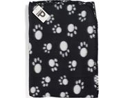 PRIMA Black Fleece Dog Blanket with Paw Print
