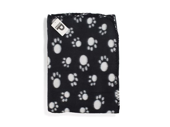 PRIMA Black Fleece Dog Blanket with Paw Print product image