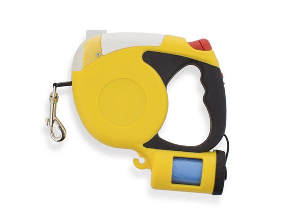 3m Retractable Lead w/ Torch & Dog Poop Bag Holder product image