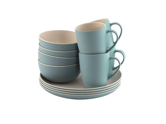 Outwell Bamboo 12 Piece Dinner Set Iris Blue product image
