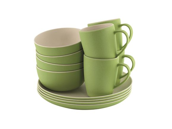 Outwell Bamboo 12 Piece Dinner Set Primrose Green product image