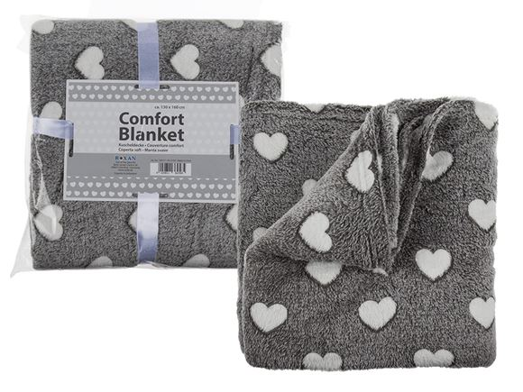 Grey Comfort Blanket w/ White Hearts, 130x160cm product image