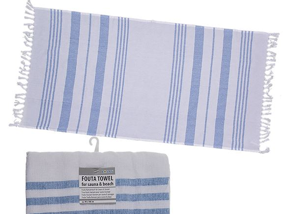 Fouta Beach Towel 90x180cm White/Sky Blue product image