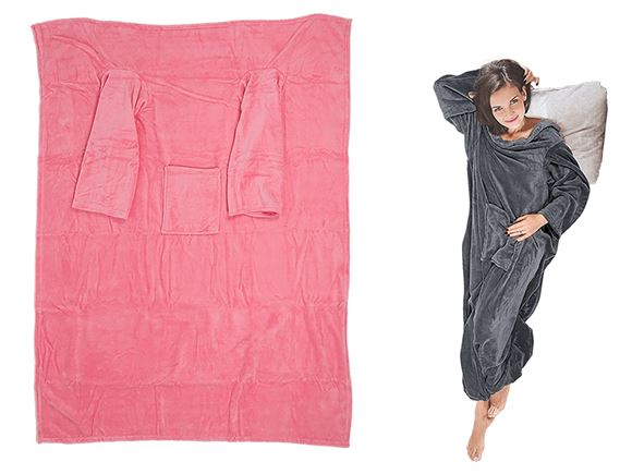 Comfort Blanket w/ Sleeves & Pockets - Pink product image