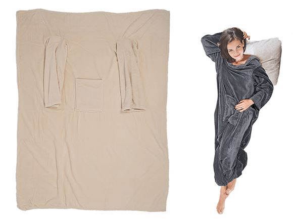 Comfort Blanket w/ Sleeves & Pockets - Beige product image