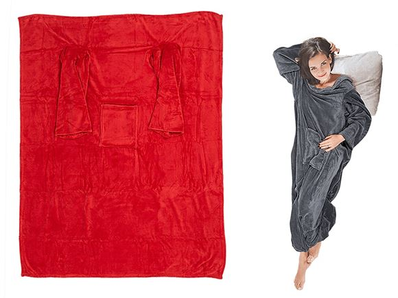 Comfort Blanket w/ Sleeves & Pockets - Red product image
