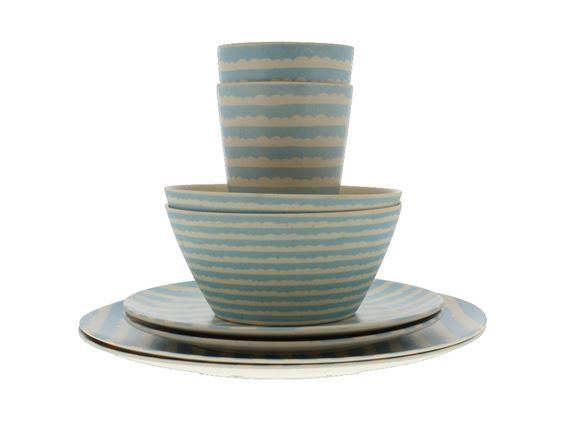 Bamboo 8-Piece Dinner Set for Two - Blue Sky product image