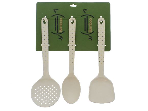 Bamboo Cooking Utensil Set - Ochre Polka product image
