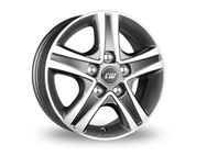 "16"" Borbet Grey Polished Alloy Wheel Rim (Single)"